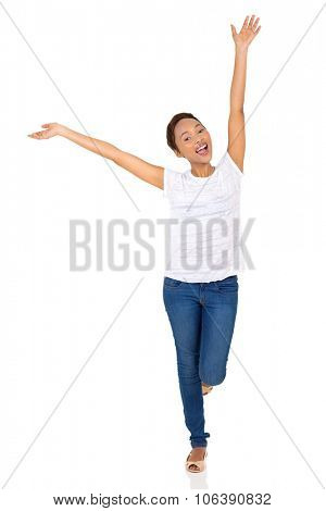 cheerful african american woman arms open isolated on white