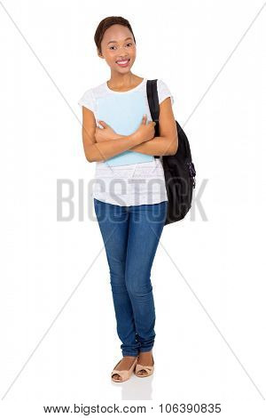 beautiful female african american college student holding a book isolated on white