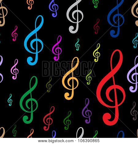 Seamless black treble clefs