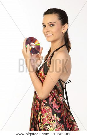 Teenage girl holding DVD