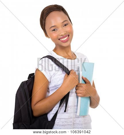 happy young african american university student isolated on white background