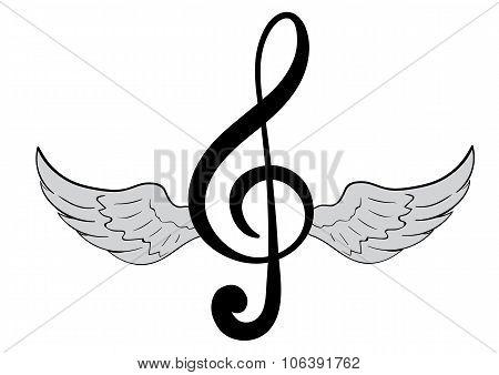 Winged treble clef