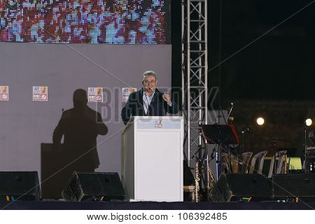 Athens, Greece 10 October 2015. Public speech of the left wing chairman Dimitris Koutsoubas in the e