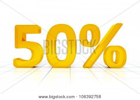 A 50 percent sign in a white background