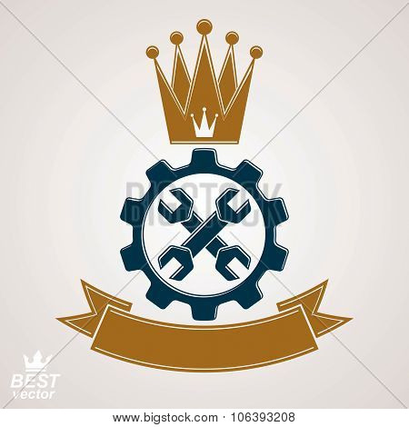 Manufacturing Award Idea Illustration. Simple Vector Crossed Spanners Placed In An Industry Cog Whee