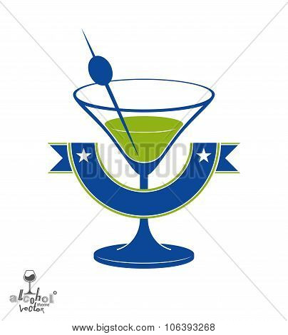 Martini Glass With Olive Berry And Decorative Ribbon, Alcohol And Entertainment Theme Illustration.