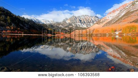 Panoramic view of scenic North lake near Bishop,California in autumn time
