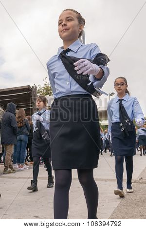 Athens, Greece, 28 October 2015. Students parade in Greece