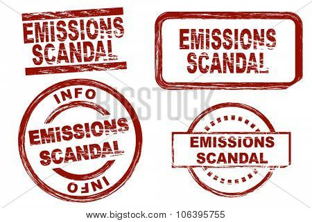 Set of stylized stamps showing the term emissions scandal. All on white background.