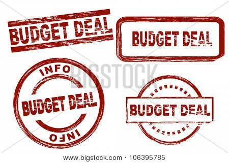 Set of stylized stamps showing the term budget deal. All on white background.