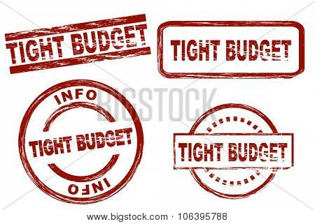 Set of stylized stamps showing the term tight budget. All on white background.