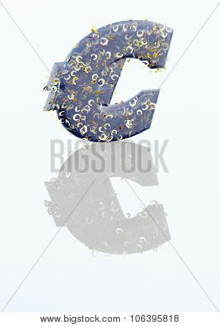Big Three-dimensional Blue Euro Sign