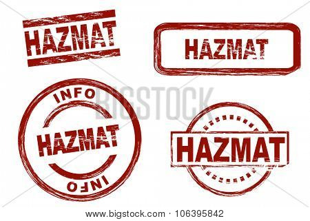 Set of stylized stamps showing the term HAZMAT, hazardous material. All on white background.