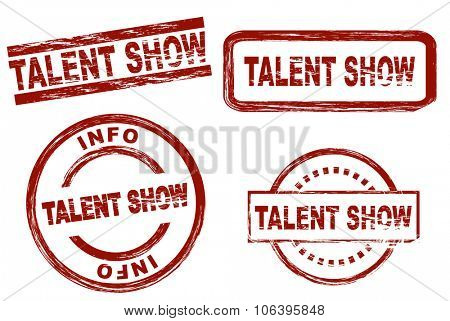 Set of stylized stamps showing the term talent show. All on white background.