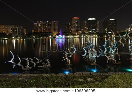 Orlando Lake Eola In The Night And Sculpture Of Birds