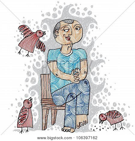 Illustration Of A Kind Person Sitting On A Chair And Feeding Birds. Hand-drawn.