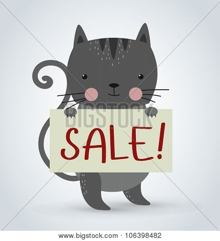 Cat pet animal holding clean sale plate board vector cartoon. Pets vector kitty. Home pets gray cat. Cat cartoon illustration. Vector cat holding white sale board. Cat holding sale text board. Shop
