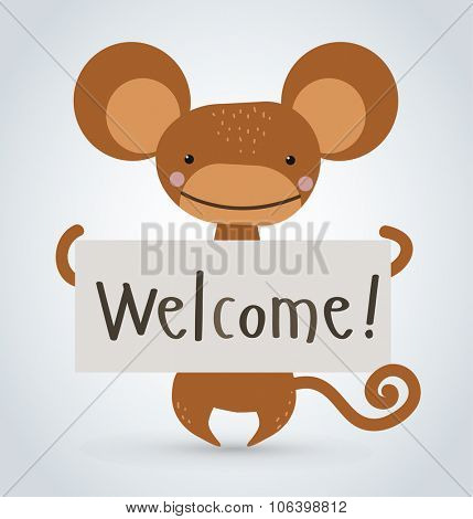 Monkey ape wild cartoon animal holding clean welcome board vector cartoon. Wild vector monkey. Wild animals ape monkey. Monkey cartoon illustration. Vector ape holding white board. Monkey holding