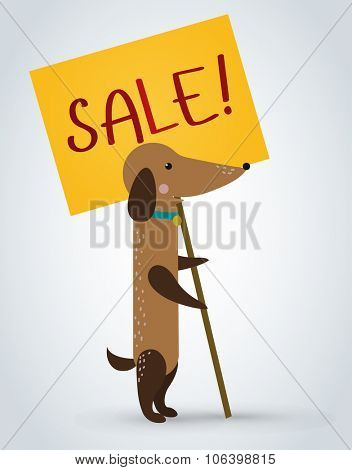 Dog pet animal holding clean sale plate board vector cartoon. Pets vector dog. Home pets dachshund dog. Dachshund dog cartoon illustration. Vector dog holding white sale board. Dog holding sale text