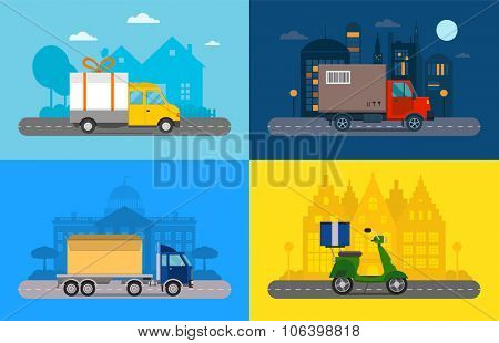 Delivery vector transport truck, van and motorcycle gift box pack. Delivery service van, delivery truck, delivery motorcycle. Delivery box silhouette. Product goods shipping transport. Fast delivery