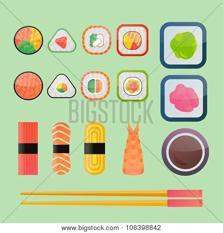 Sushi vector flat icons set. Soy sauce, sushi roll. Japanese food sushi icons. Vector cartoon sushi set collection. Sushi  vector silhouette, sushi flat modern collection. Sushi restaurant food