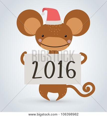 New Year Christmas ape wild cartoon animal holding 2016 board vector cartoon. Wild cartoon monkey. Christmas ape monkey. Monkey cartoon illustration. Vector ape holding new year board.