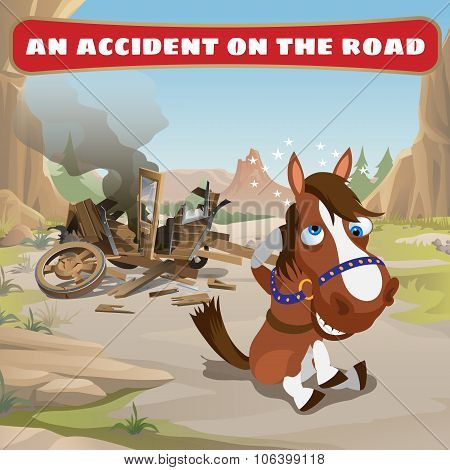 Accident on the road and contused horse
