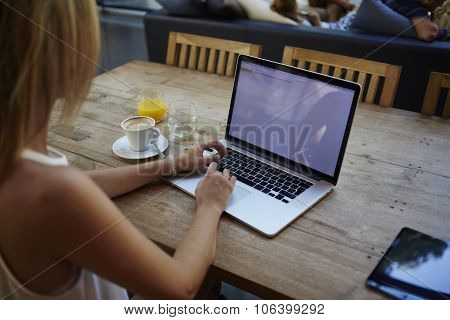 Female freelancer using net-book for distance work during morning breakfast in cafe bar