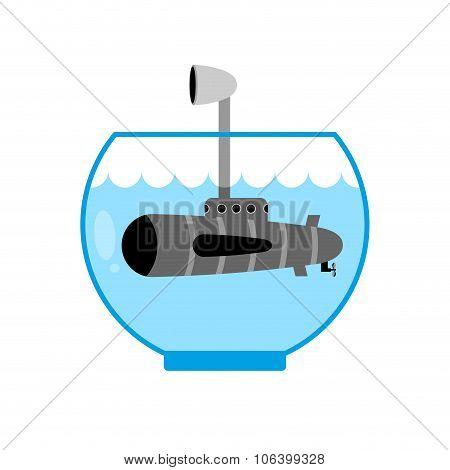 Submarine In Aquarium. Periscope Above Water. Monitoring Space. Miniature Water Transport