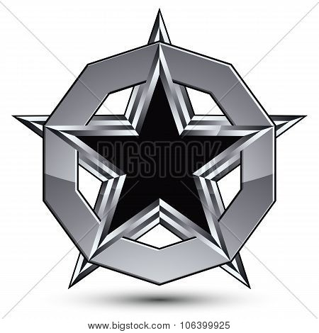 Branded Silvery Rounded Geometric Symbol, Stylized Pentagonal Black Star Placed In A Silver Ring, Be