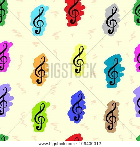 Seamless painted treble clefs