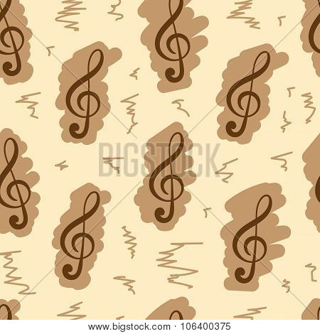 The brown painted treble clefs