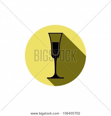 Alcohol Theme Icon, Champagne Goblet Placed In A Circle. Colorful Restaurant Brand Emblem.