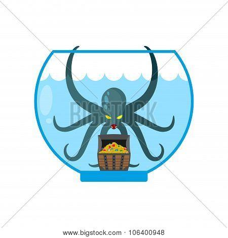 Octopus In Aquarium Are Treasures. Miniature Kraken. Home Of Cthulhu