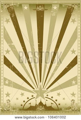 circus vintage brown poster. A vintage brown circus poster with sunbeams for your show
