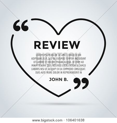 Website review heart quote citation blank template. Website review vector icon. Quote comment template. Quote bubble. Shop customer review template. Circle review template, paper sheet, information