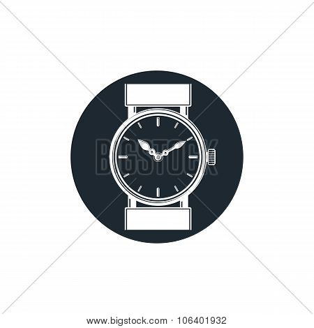 Graphic Pocket Watch Illustration. Wristwatch With Dial And An Hour Hand, For Use As Web Element Or