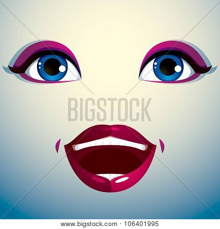Glad smiling woman eyes and lips, stylish makeup. People positive facial emotions, happiness.