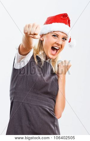 Business woman with Santa Hat