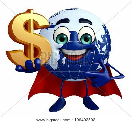 Earth Character With Dollar Sign