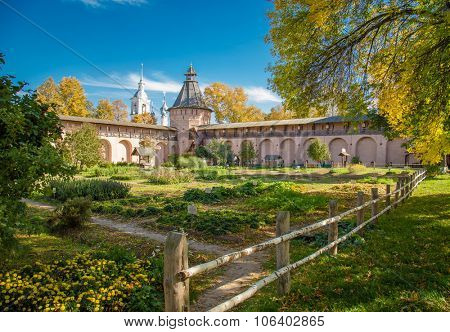Well in the monastery garden Orthodox monastery. Suzdal Russia.