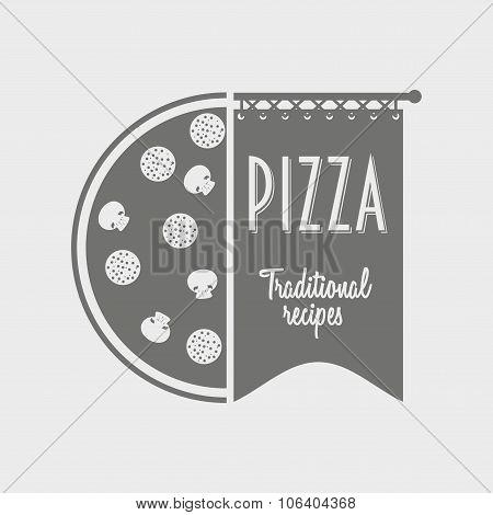 Vector Concept Of Italian Pizza Logo.