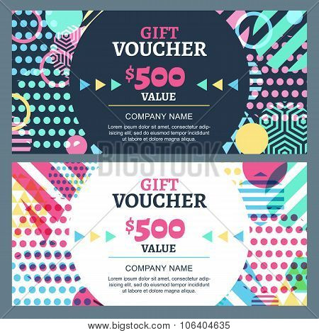 Vector Gift Voucher With Colorful Geometric Pattern And Round Frame.