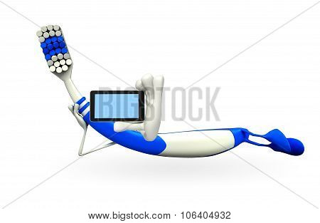 Toothbrush Character With Mobile