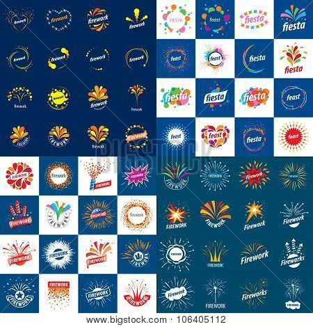 set of vector logos for fireworks