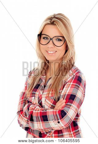 Cute Blonde Girl with plaid shirt and glasses isolated on a white background