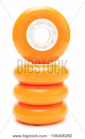 Orange wheels stack isolated over white