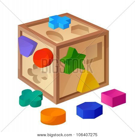 Shape sorter toy isolated on white background. Cartoon vector illustration. Series of children's toy