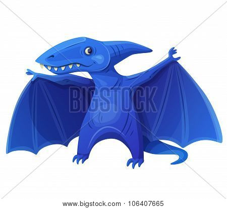 Toy flying dinosaur 7 isolated on white background. Cartoon vector illustration. Series of children'