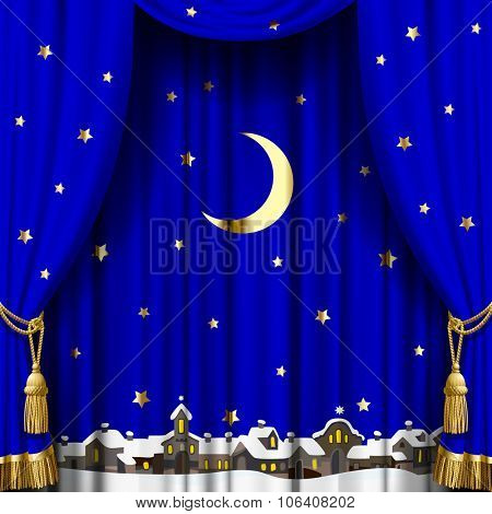 Christmas and New Year blue curtain with a town skyline in snow down, gold moon and stars. Square theater and Christmas background. Artistic poster. Vector illustration